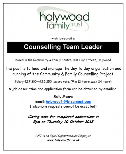 Flyer for counselling job at Holywood Family Trust